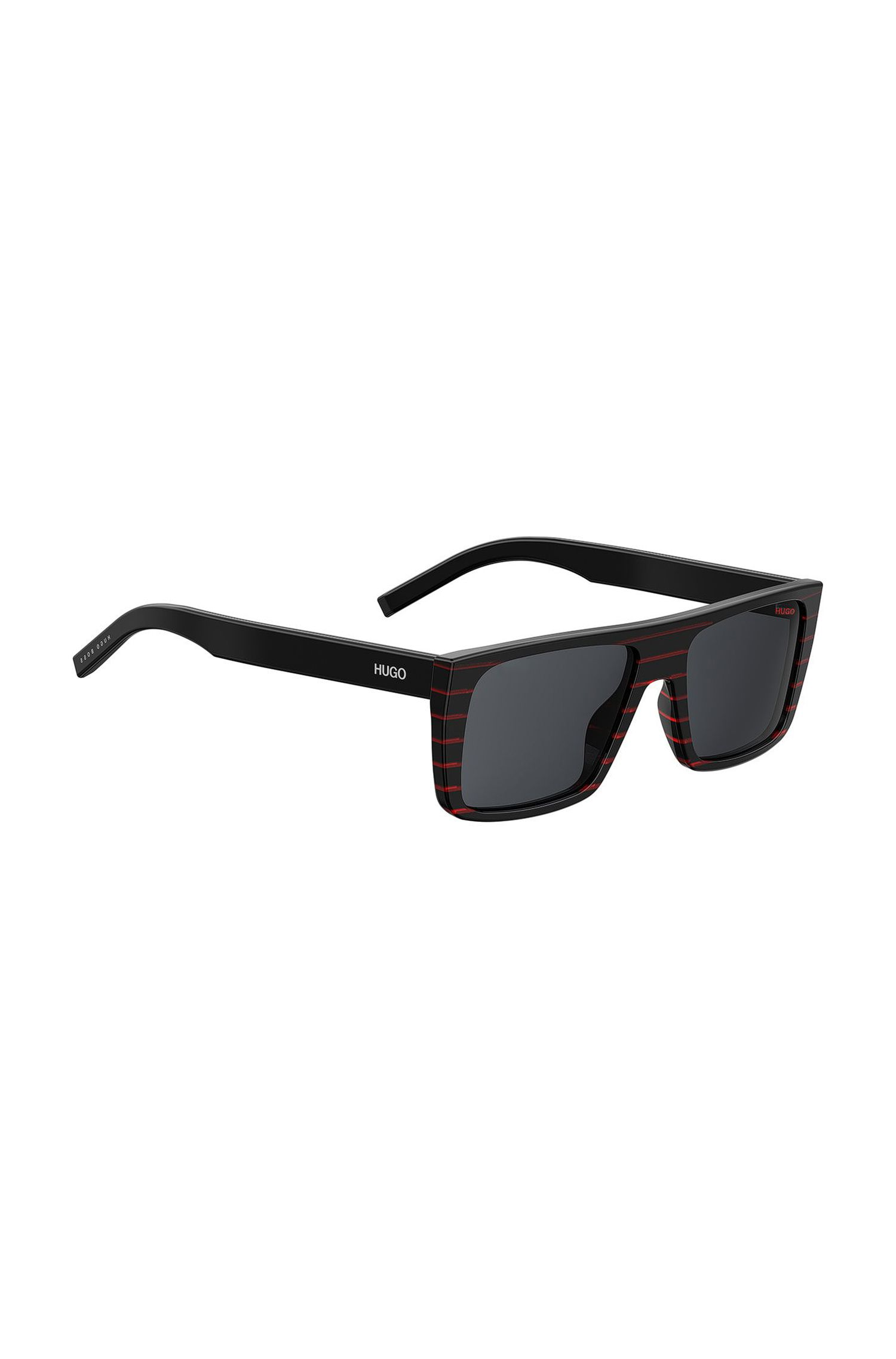 Squared sunglasses in red and black striped acetate, Assorted-Pre-Pack