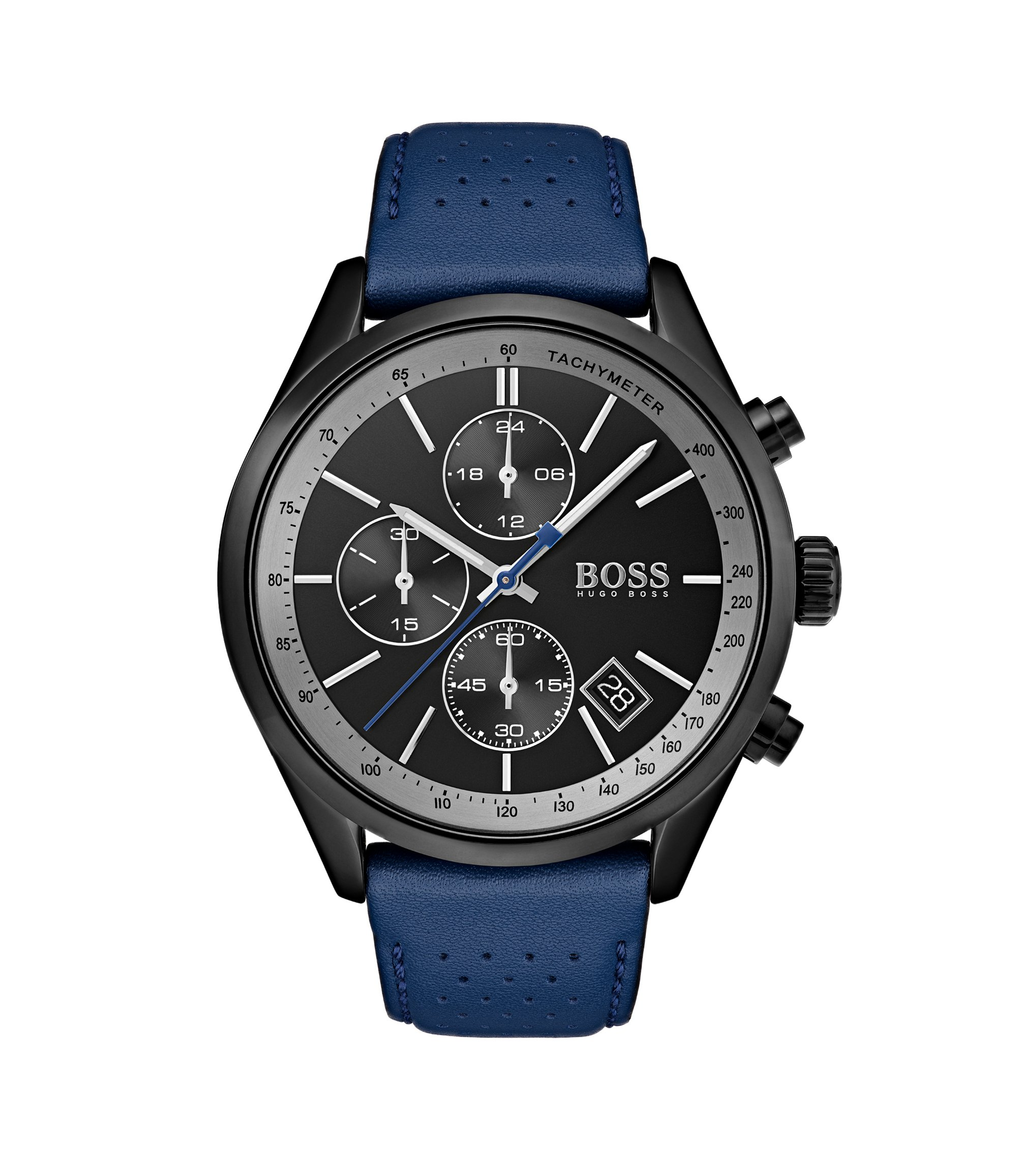 Black-dial watch with blue perforated leather strap, Assorted-Pre-Pack
