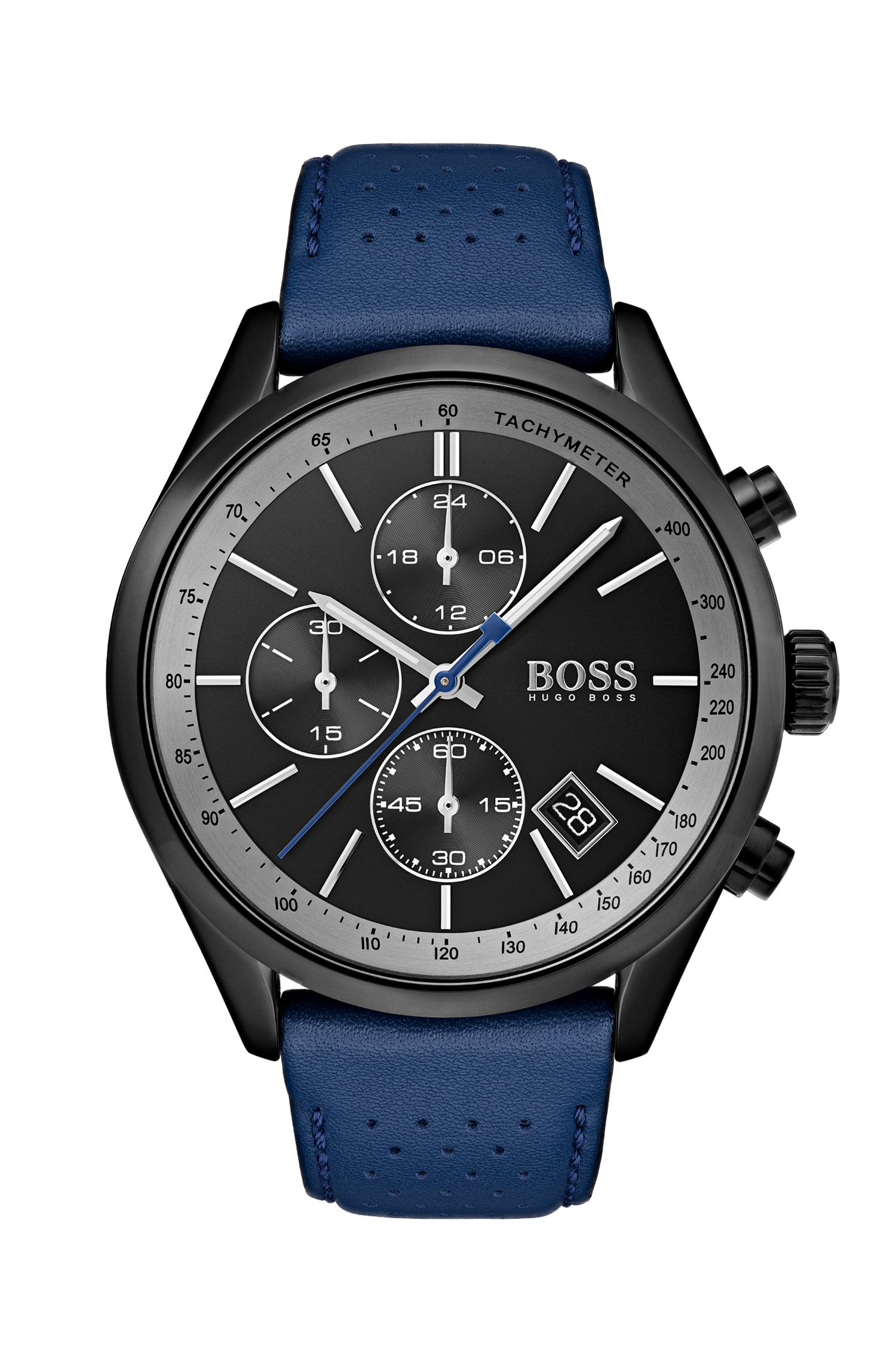 Black-dial watch with blue perforated leather strap