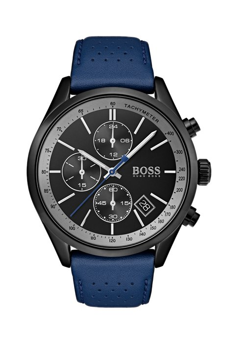 BOSS - Black-dial watch with blue perforated leather strap e3030409a
