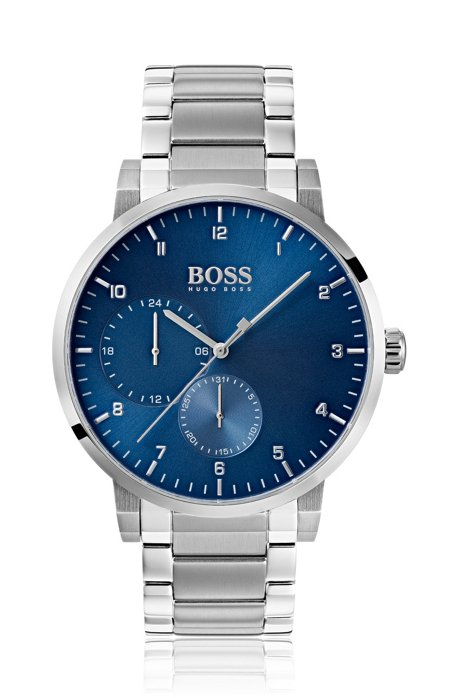 Stainless-steel watch with blue dial and link strap, Assorted-Pre-Pack