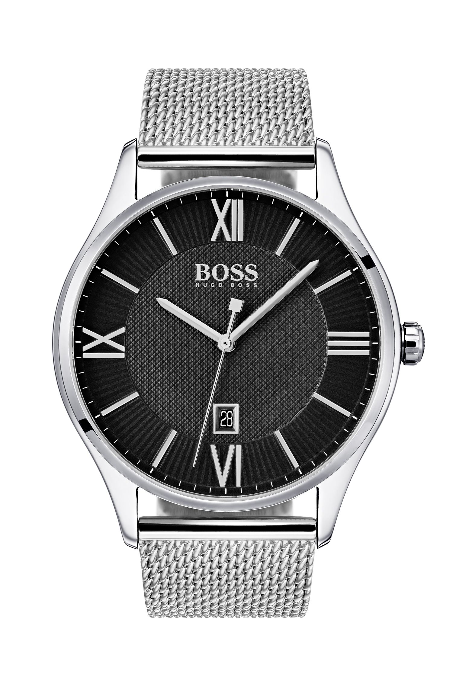 Two-Tier Black Dial Watch with Mesh Bracelet, Assorted-Pre-Pack