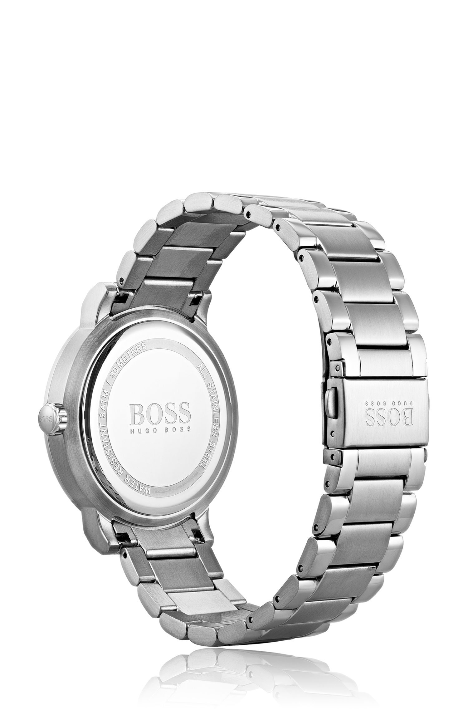 Brushed and polished stainless-steel watch with slimline bezel, Assorted-Pre-Pack