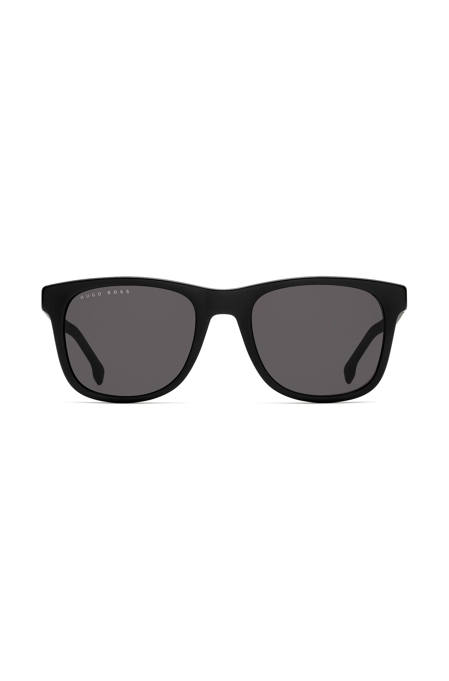 Square sunglasses in black acetate with micro-patterned temples, Assorted-Pre-Pack