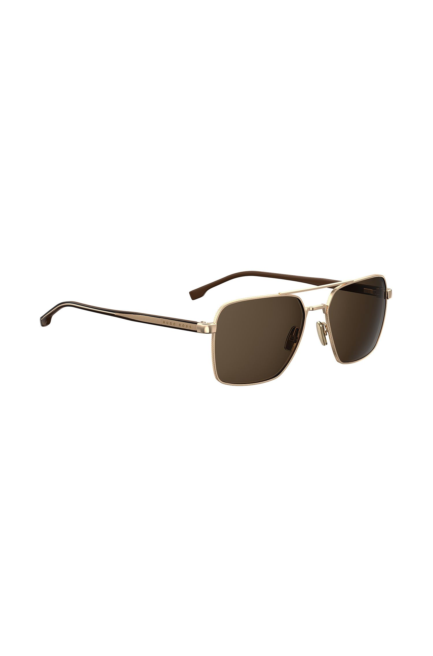 Golden-framed rectangular sunglasses with Optyl temples, Assorted-Pre-Pack