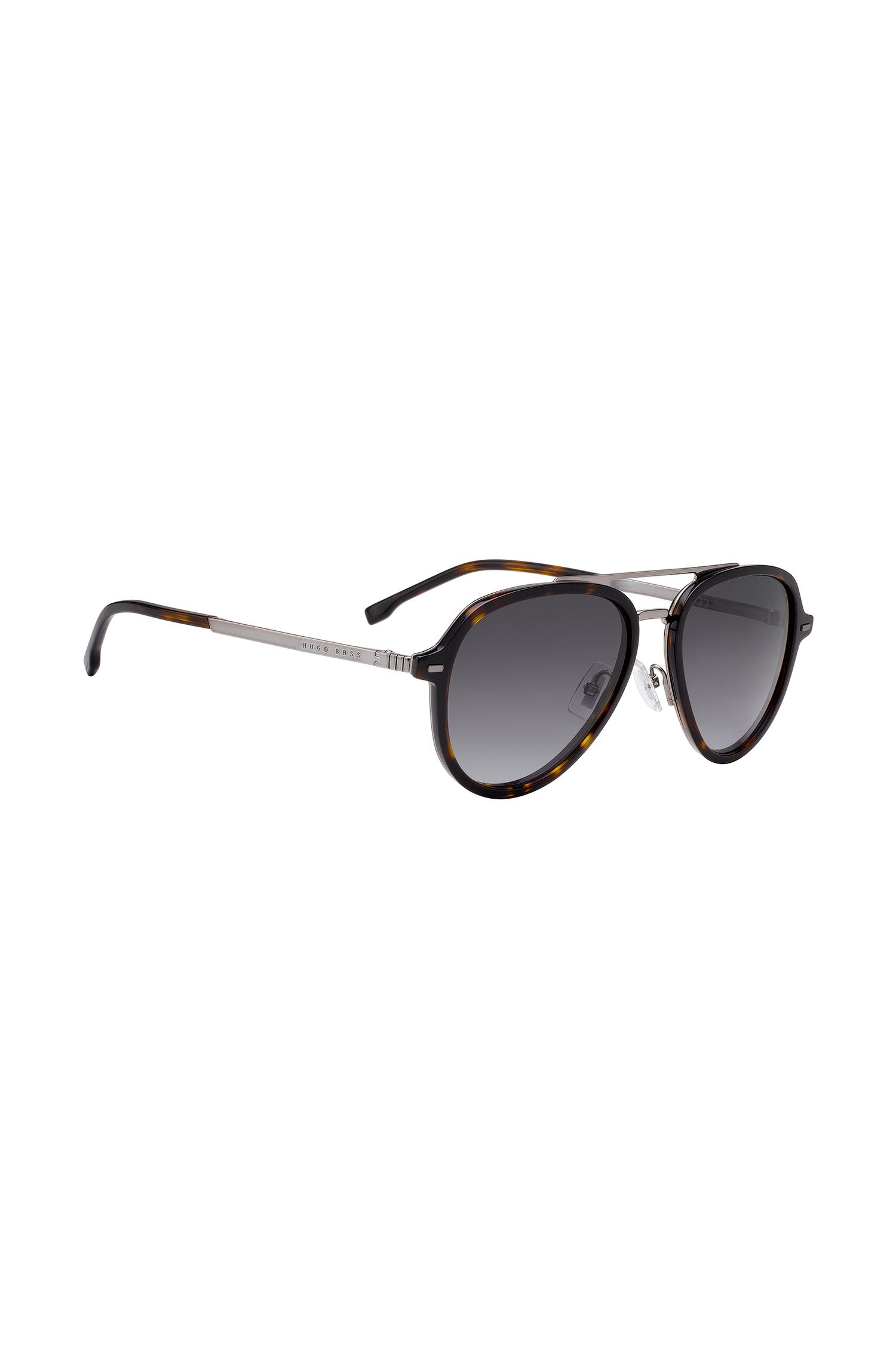 Double-bridge aviator sunglasses with brown Havana details, Assorted-Pre-Pack