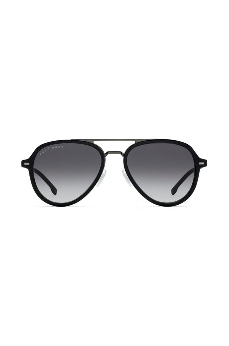Double-bridge sunglasses in black acetate and titanium, Assorted-Pre-Pack