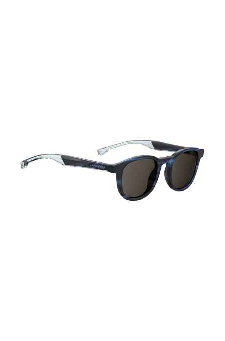 Blue-horn square sunglasses with two-tone temples, Assorted-Pre-Pack