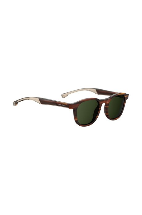Brown-horn sunglasses with two-tone temples, Assorted-Pre-Pack