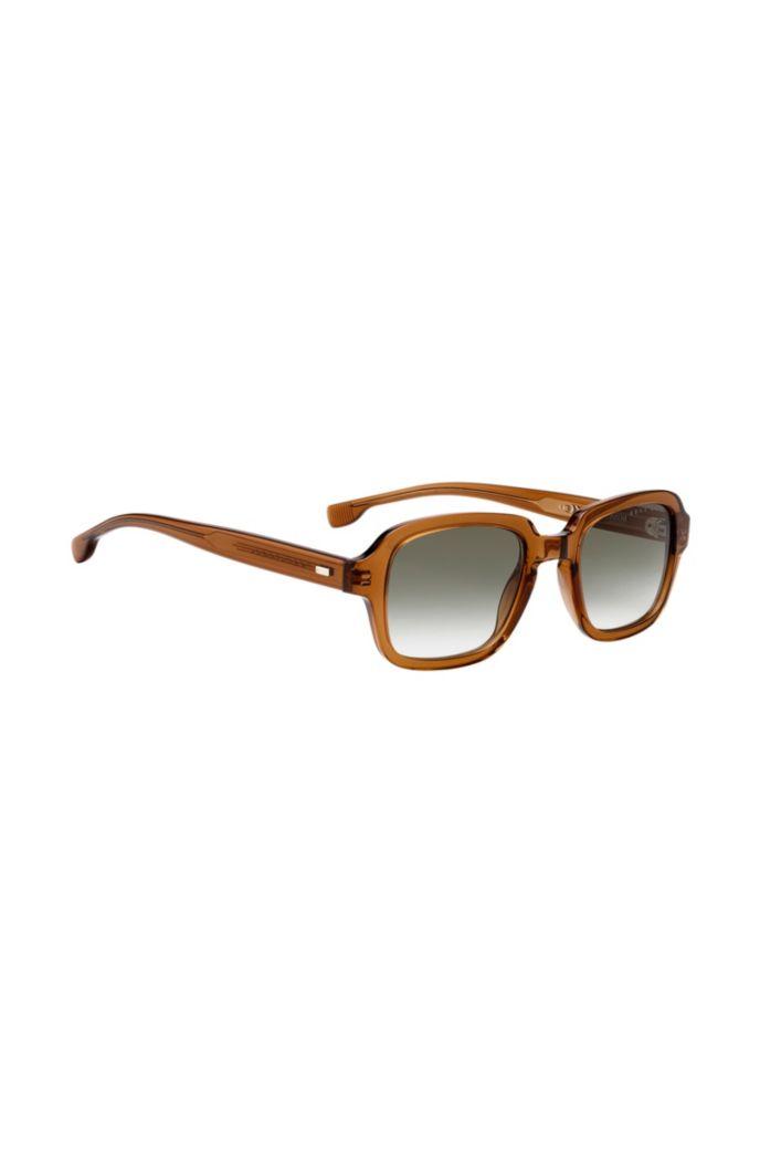 Square sunglasses in transparent brown acetate