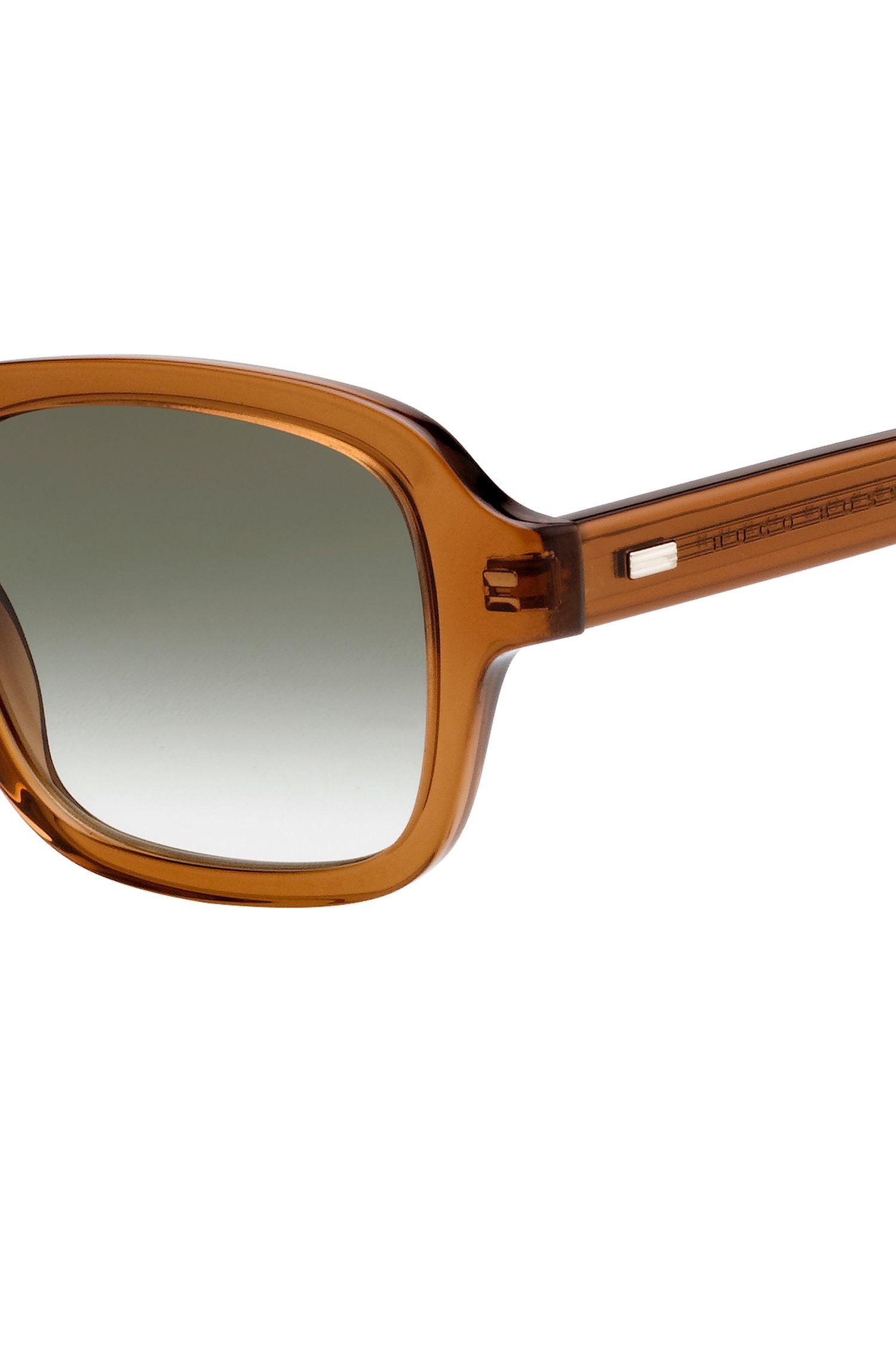 Square sunglasses in transparent brown acetate, Assorted-Pre-Pack