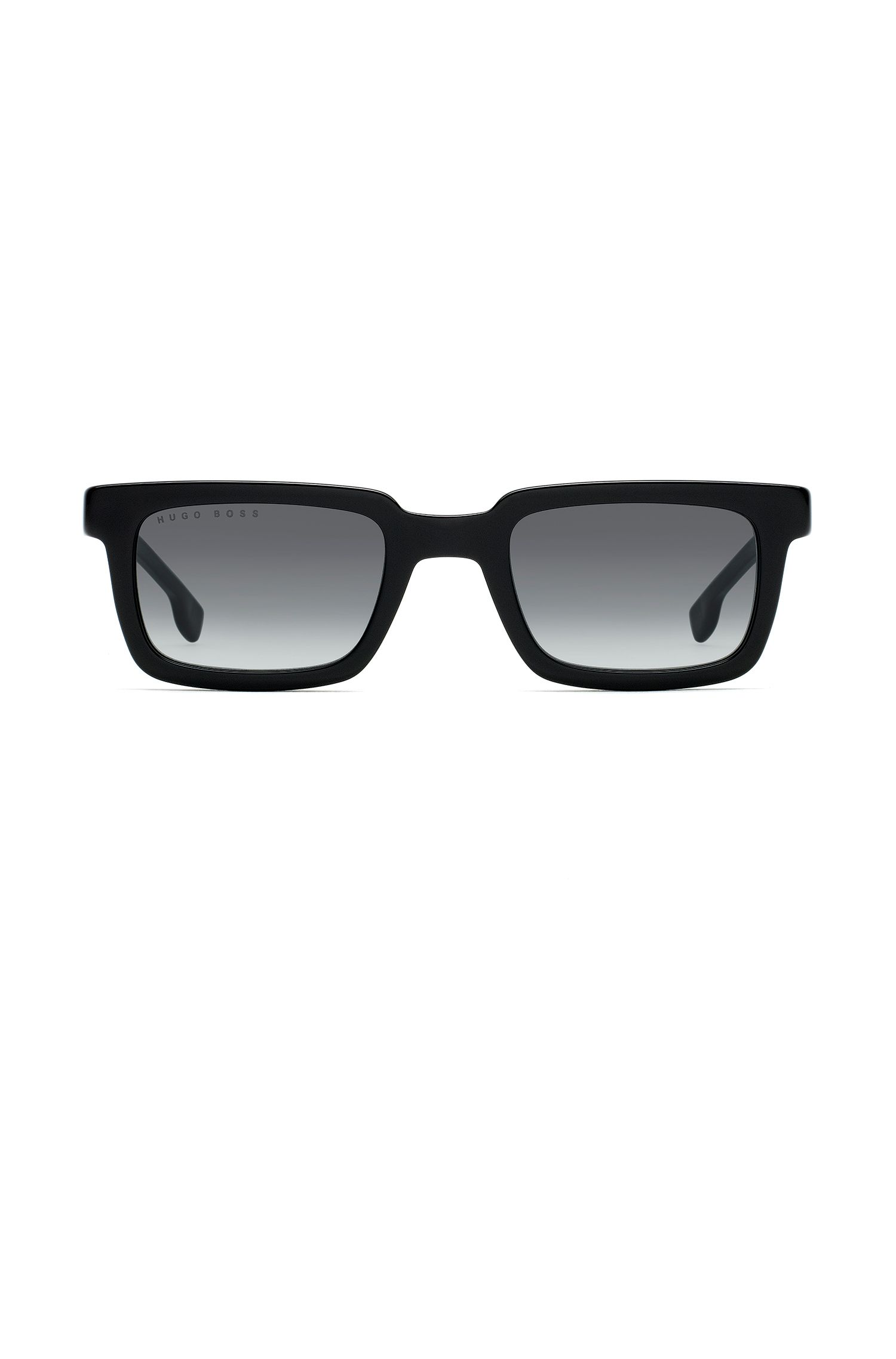 Square sunglasses in black acetate with black-shaded lenses, Assorted-Pre-Pack