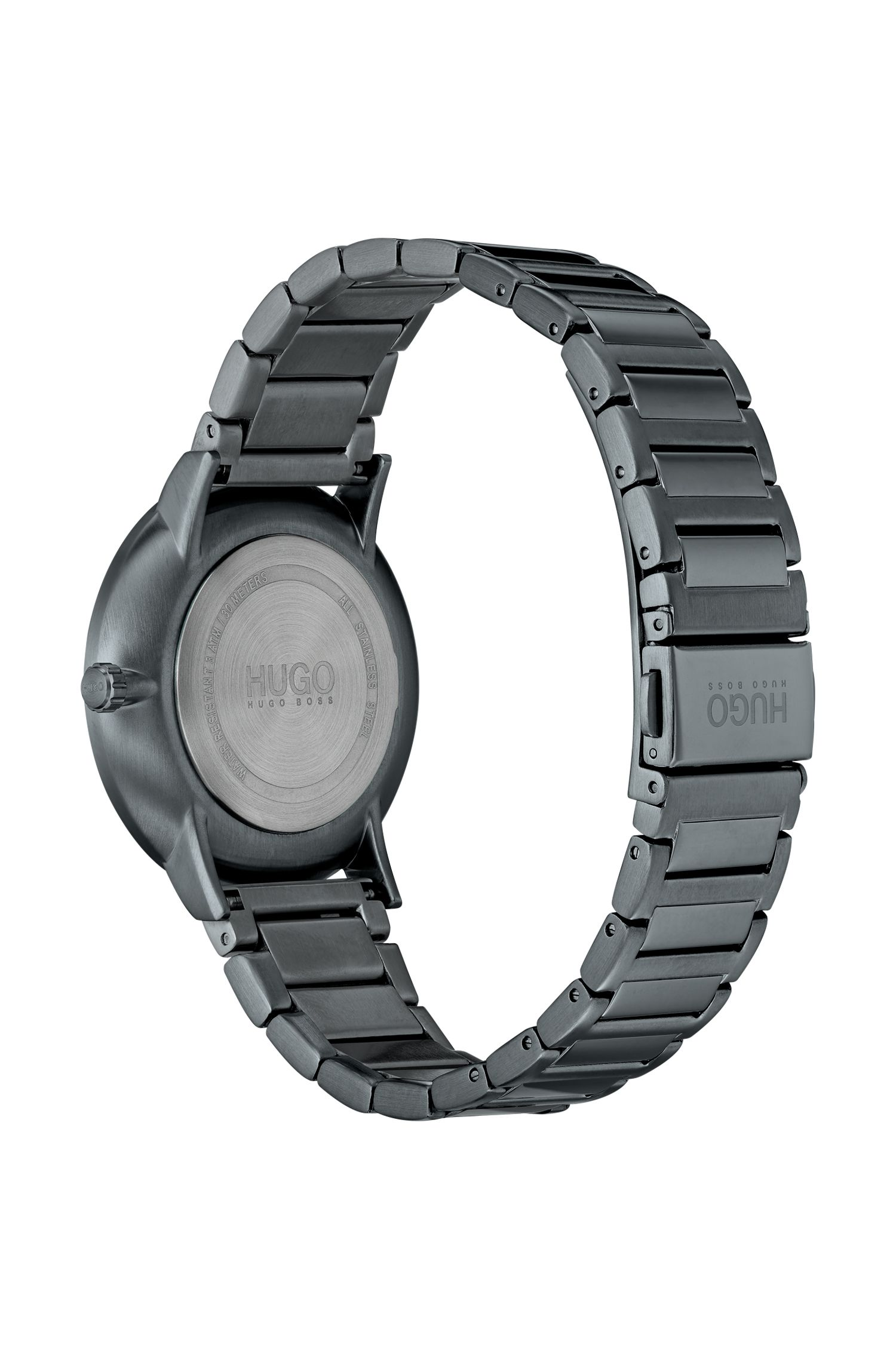 Grey-plated watch with stainless-steel bracelet, Assorted-Pre-Pack
