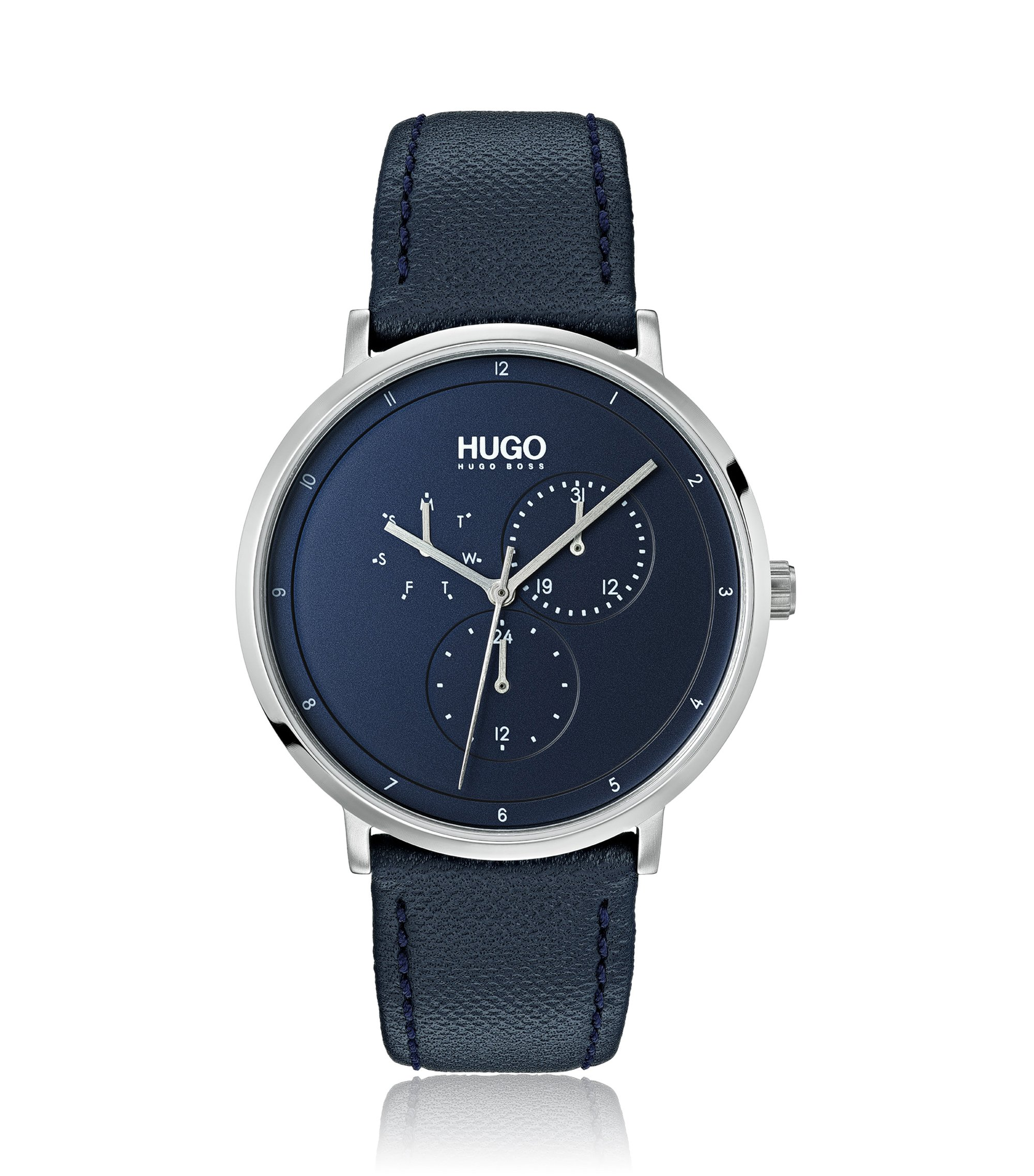 Stainless-steel watch with blue-leather strap, Assorted-Pre-Pack