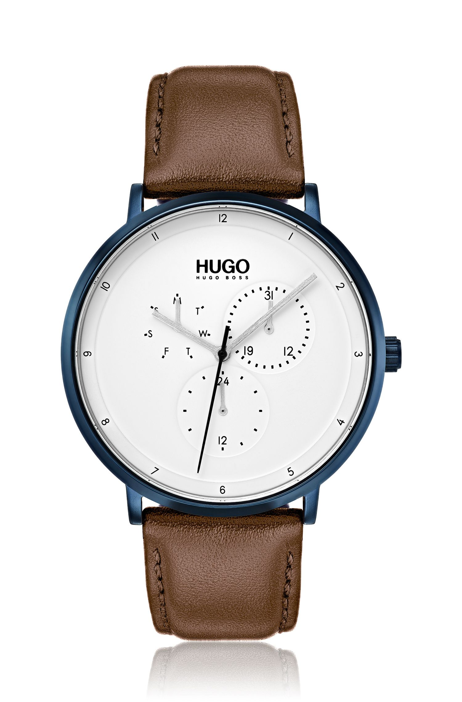 Three-hand watch with textured leather strap, Assorted-Pre-Pack