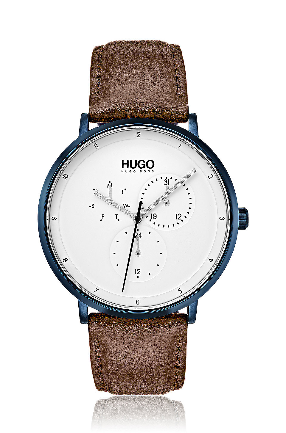 Hugo Three Hand Watch With Textured Leather Strap