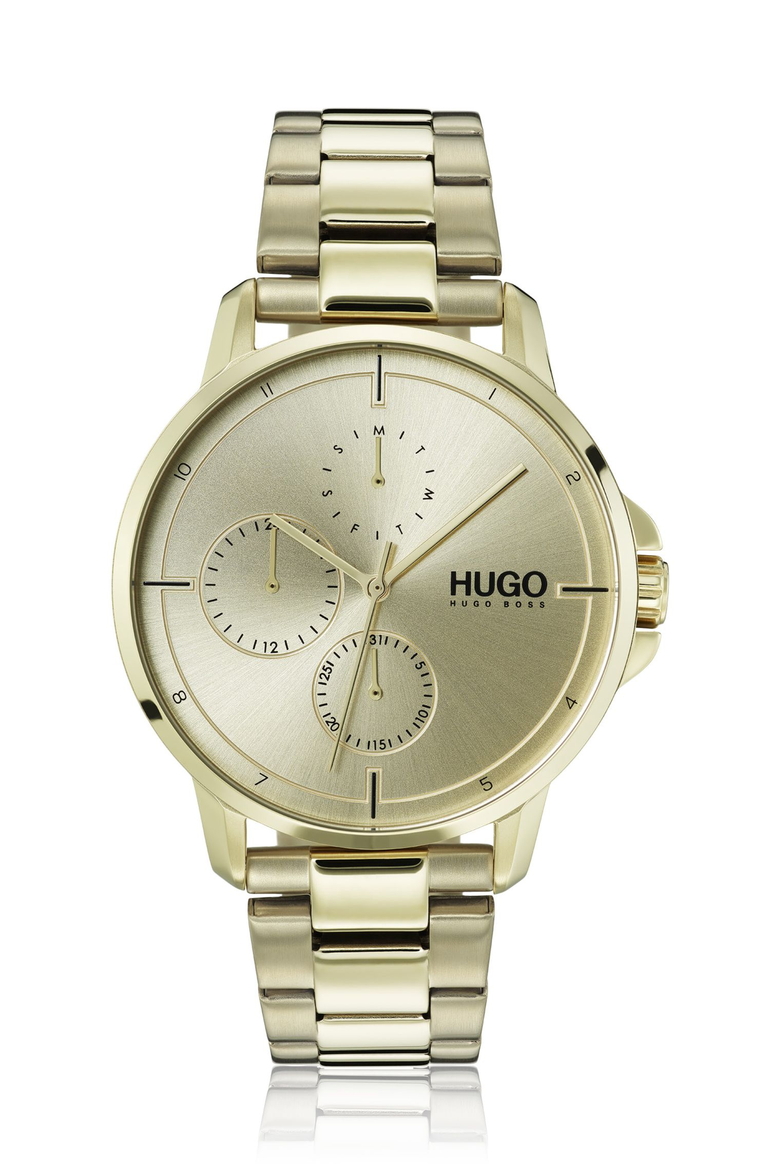 Ice-gold-plated watch with monochromatic dial, Assorted-Pre-Pack