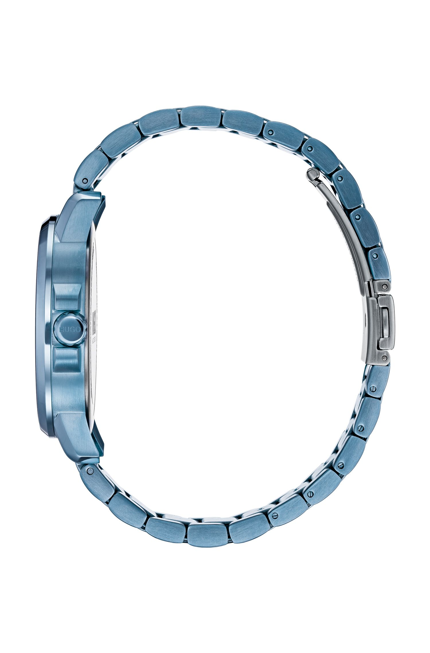 Multi-eye watch in blue-plated stainless steel, Assorted-Pre-Pack