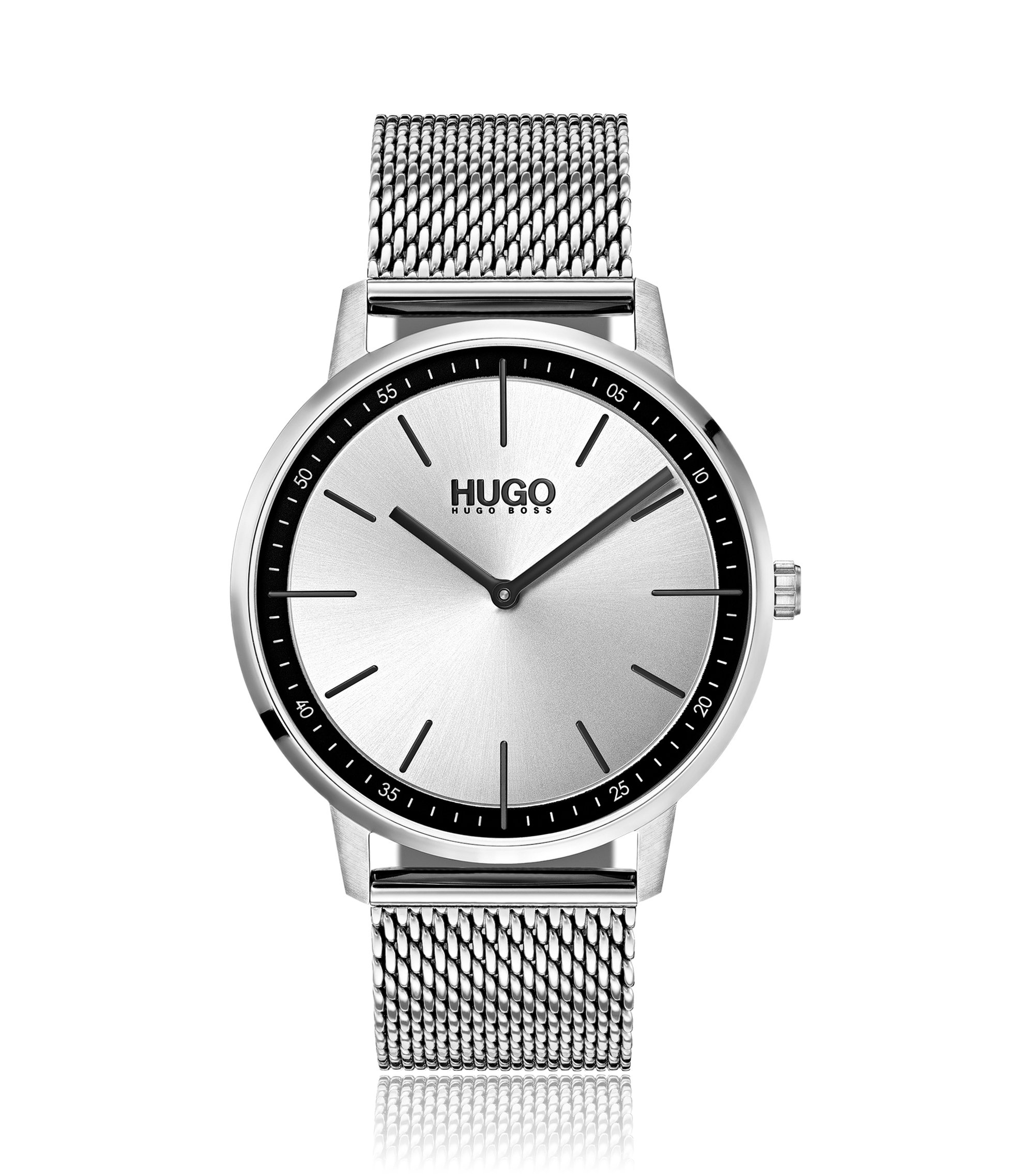 Silver-dial watch with mesh bracelet, Assorted-Pre-Pack