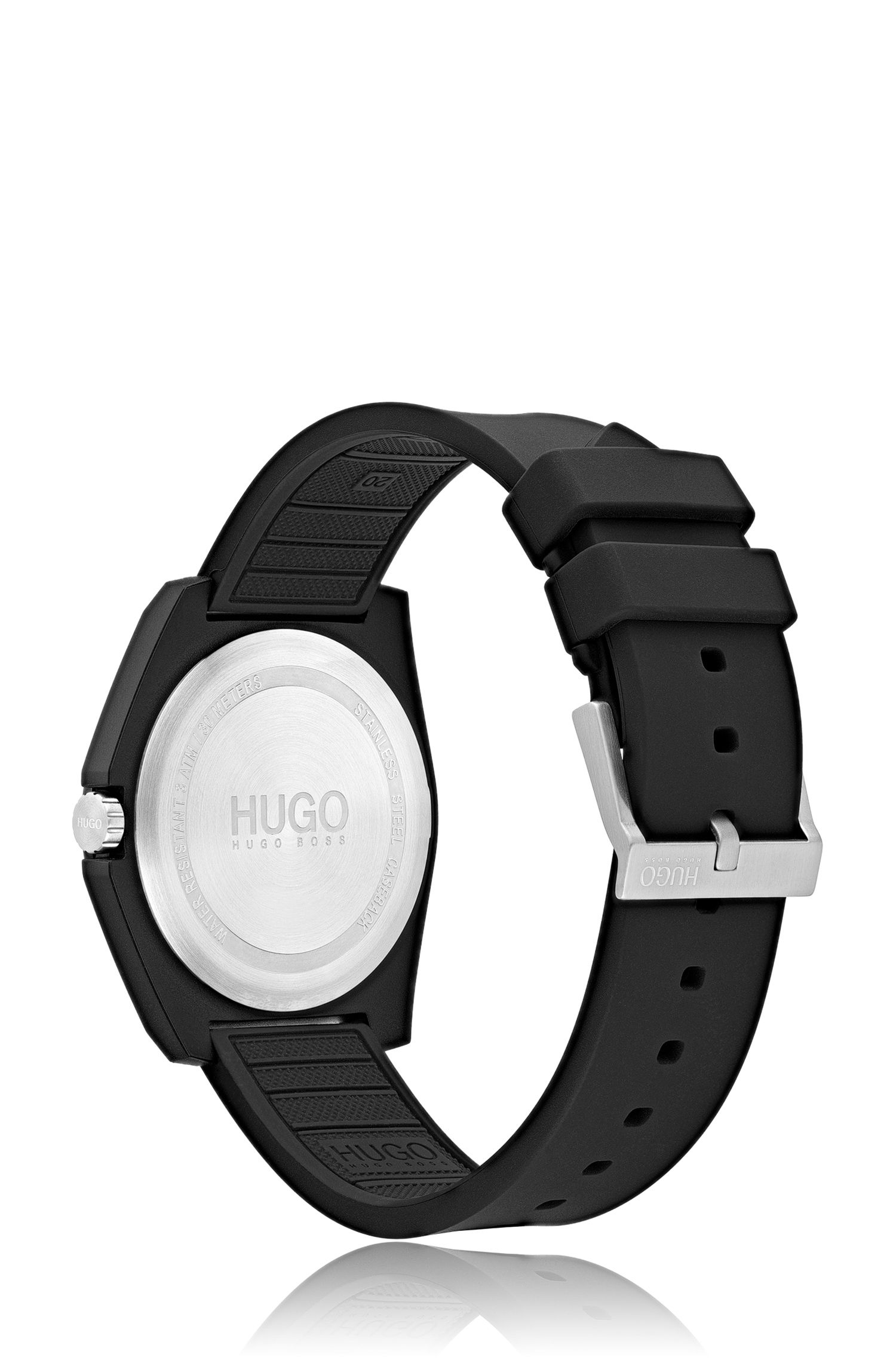 Unisex black watch with reverse logo, Assorted-Pre-Pack