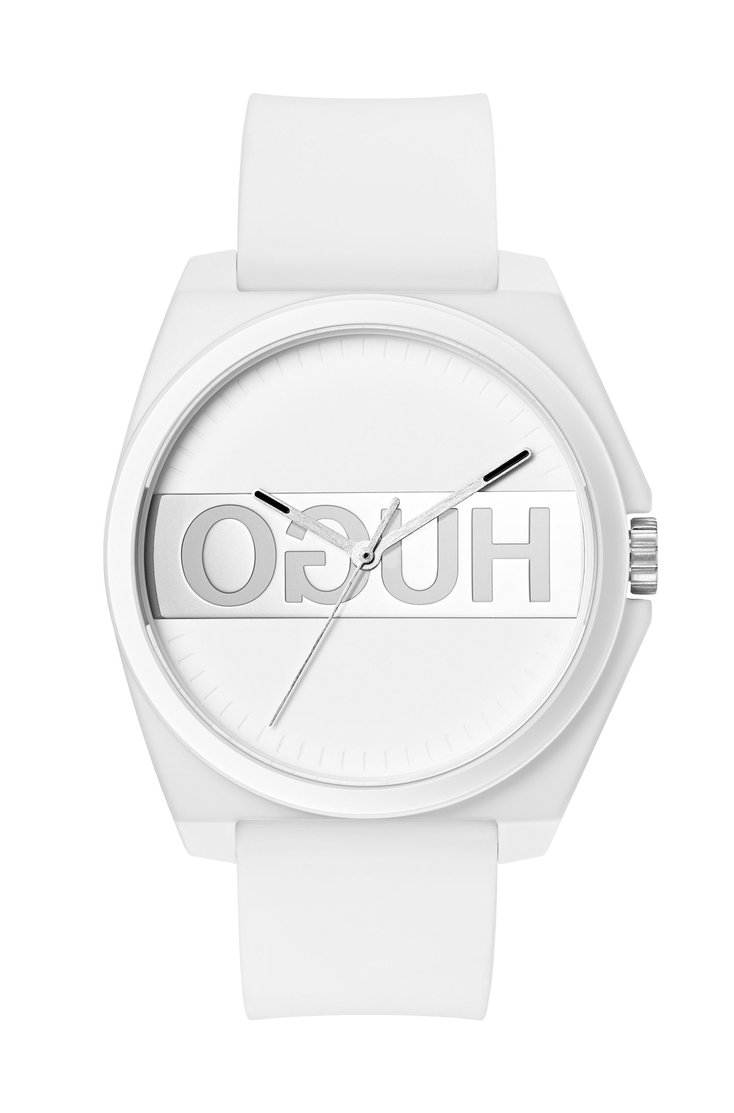 Unisex reverse-logo watch with white silicone strap, Assorted-Pre-Pack
