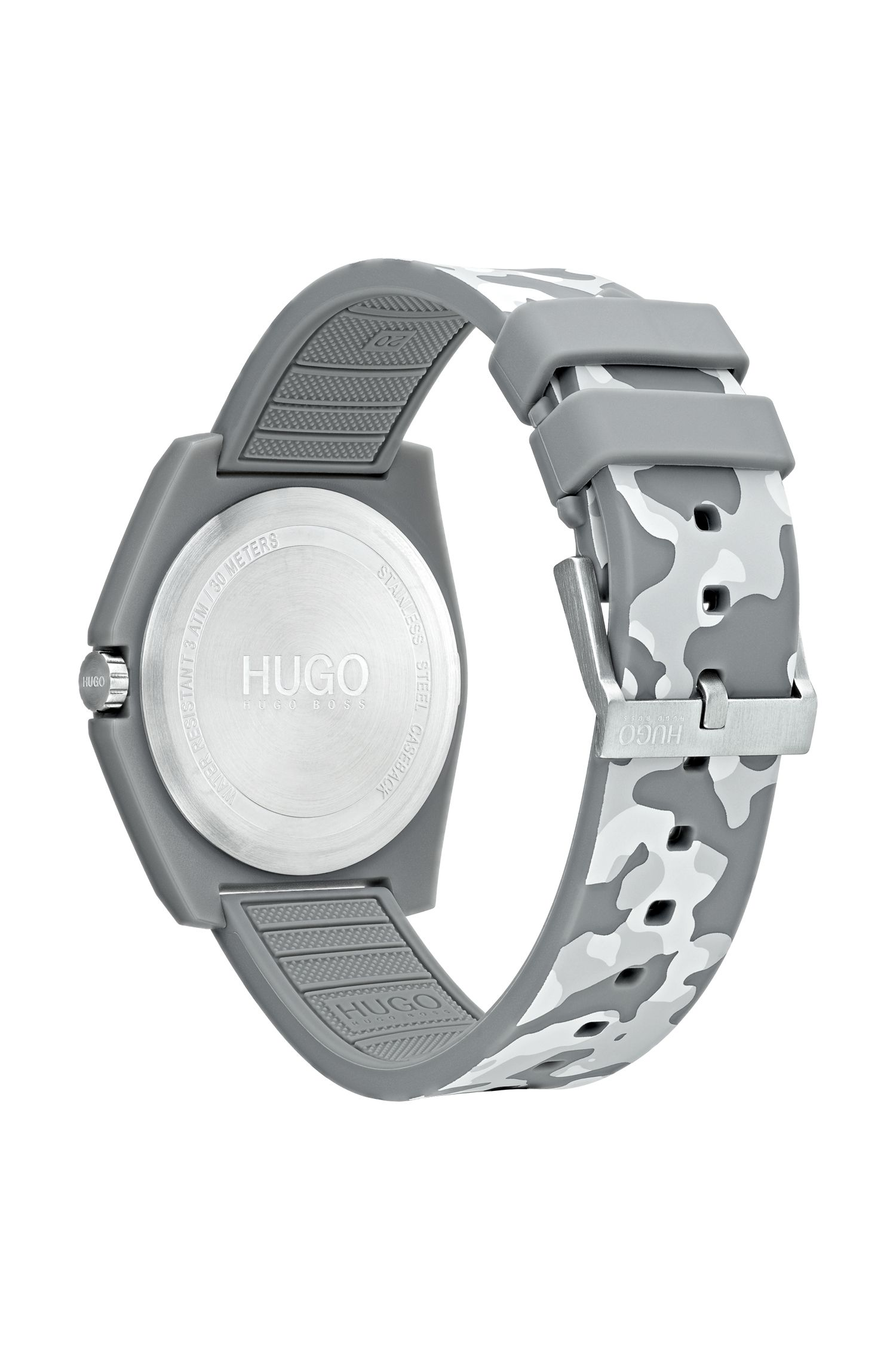 Unisex camouflage-print watch with reverse logo, Assorted-Pre-Pack