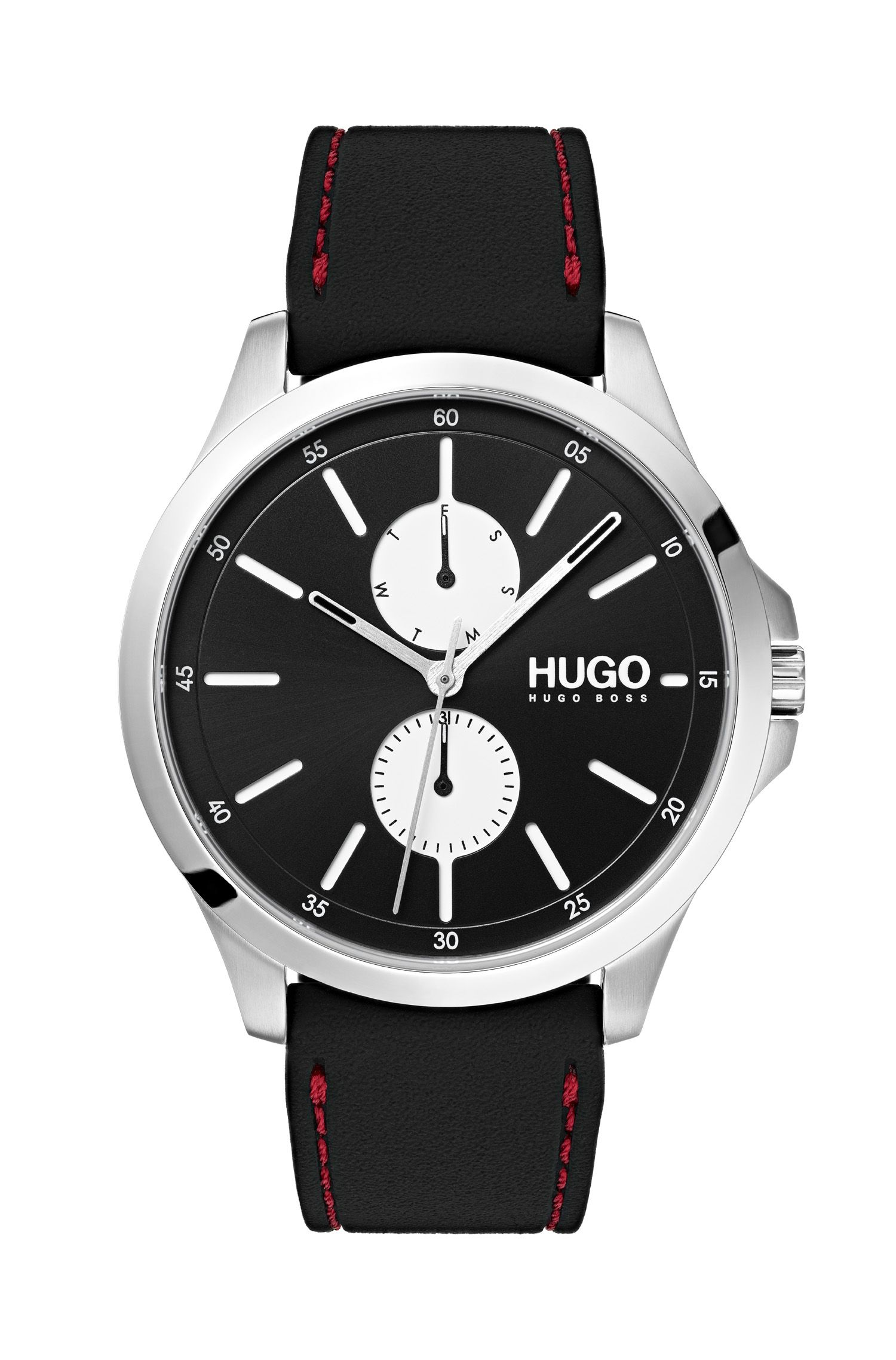 Three-hand watch in stainless steel with stitched rubber strap, Assorted-Pre-Pack