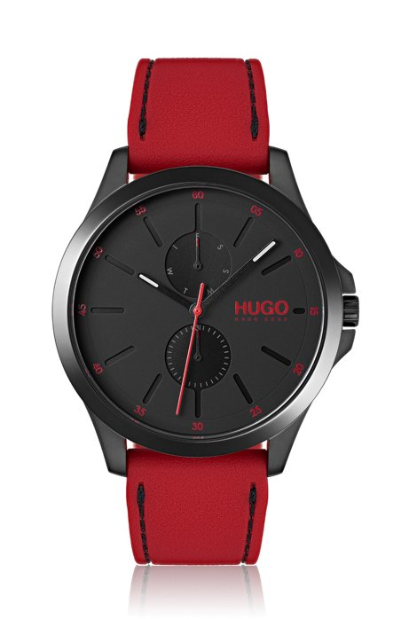 Black-plated wristwatch with red strap, Assorted-Pre-Pack