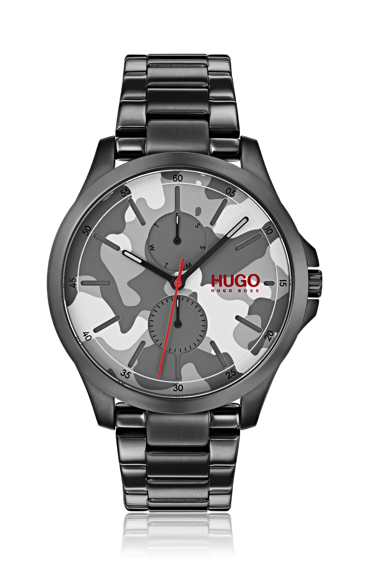Camouflage-dial watch in black-plated stainless steel, Assorted-Pre-Pack