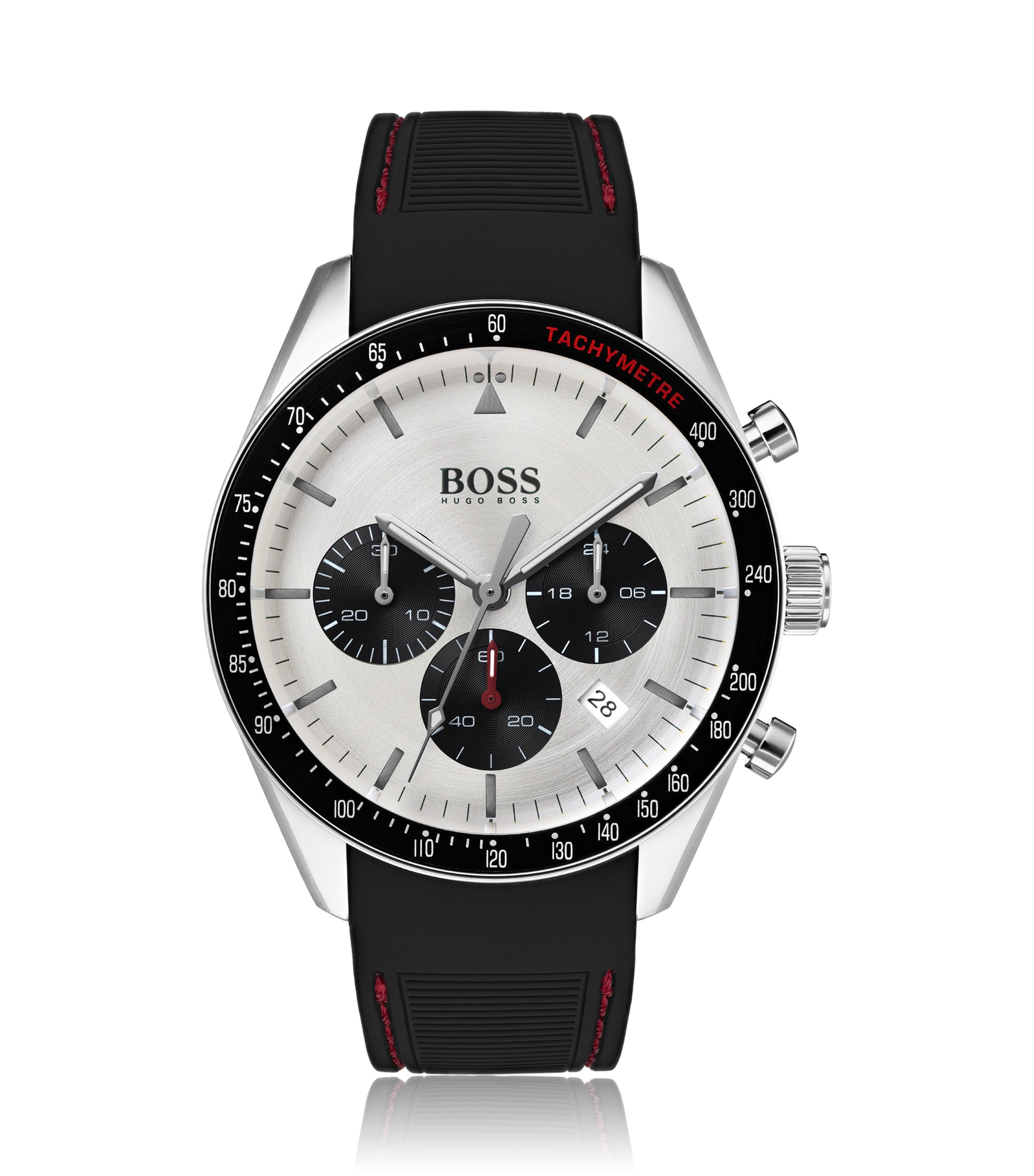 Stainless-steel chronograph watch with hand-stitched silicone strap, Assorted-Pre-Pack
