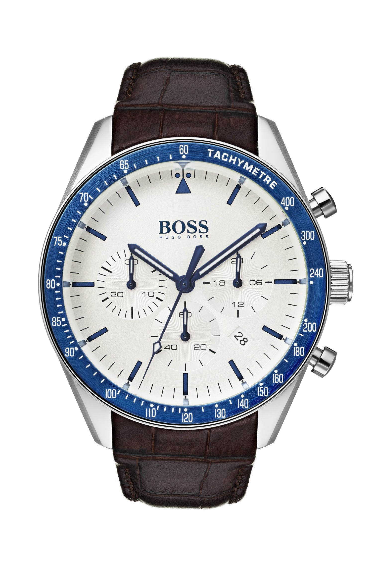 Leather-strap watch with blue bezel, Assorted-Pre-Pack