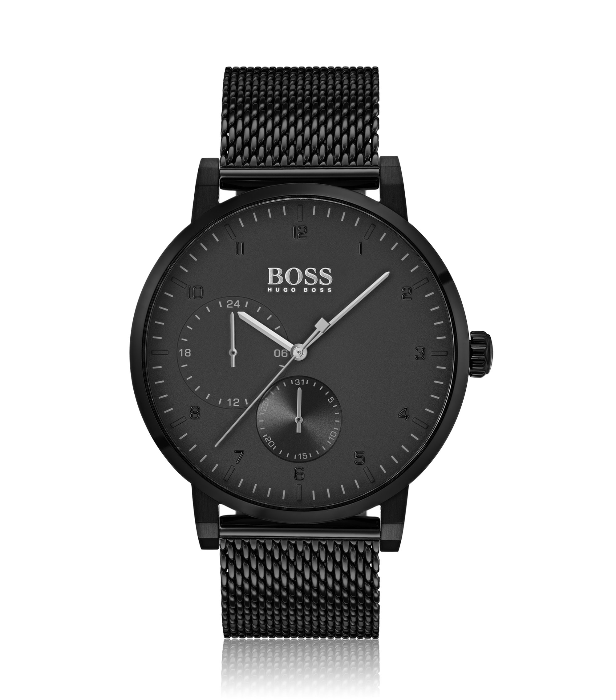 Black-plated stainless-steel watch with slimline bezel, Assorted-Pre-Pack