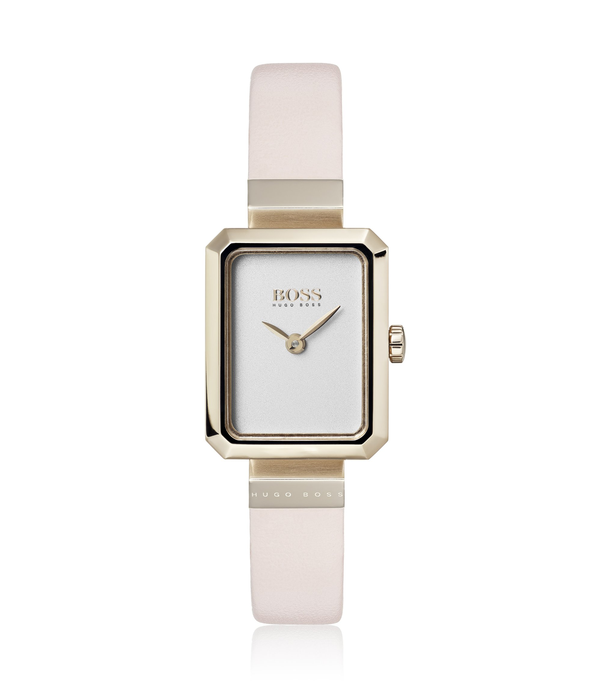 Carnation-gold-plated rectangular watch with pink leather strap, Assorted-Pre-Pack