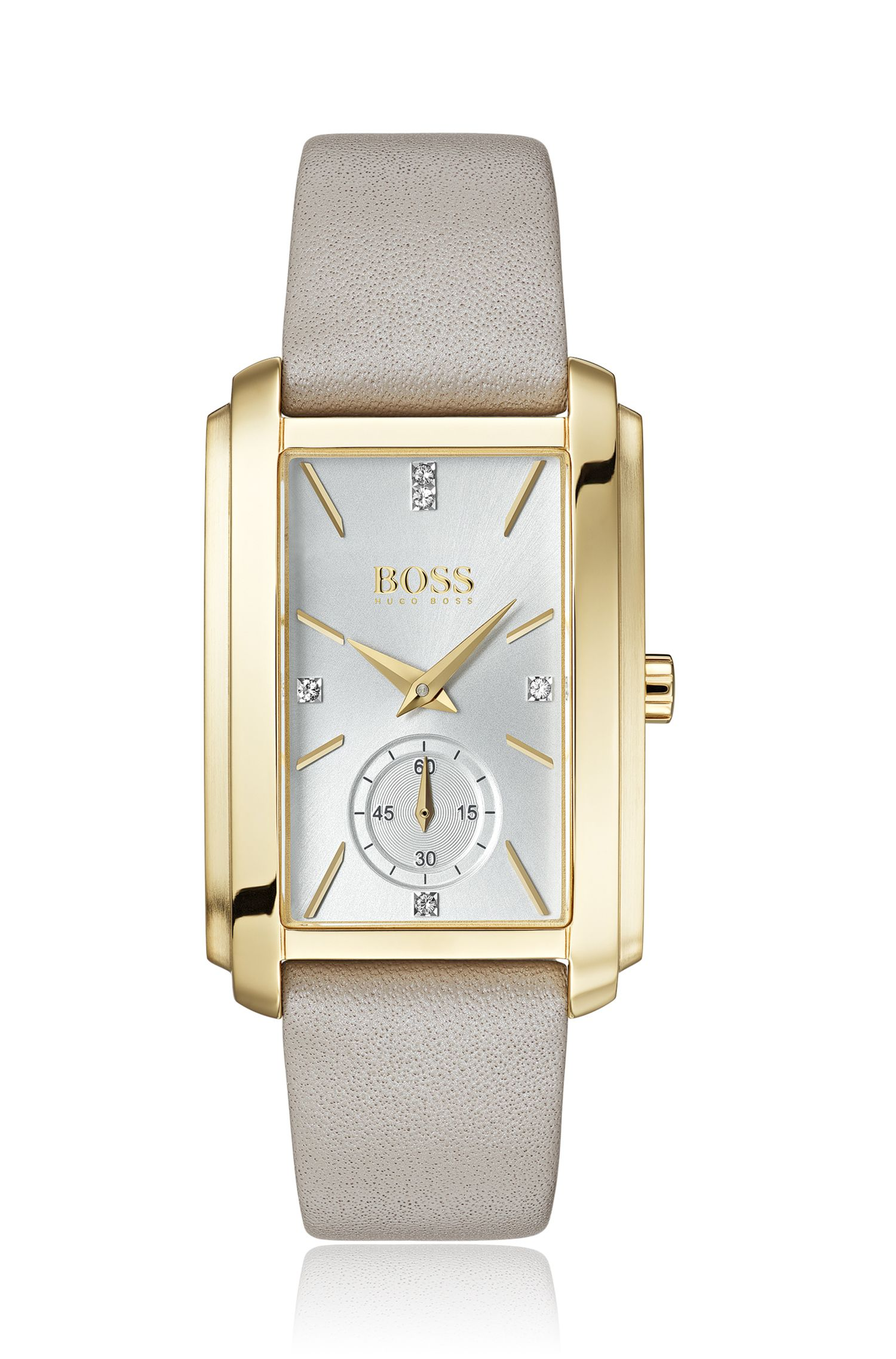 Yellow-gold-plated rectangular watch with pink leather strap, Assorted-Pre-Pack