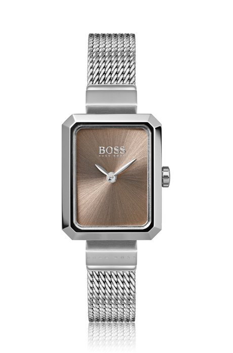 Rectangular stainless-steel watch with carnation-gold dial, Assorted-Pre-Pack