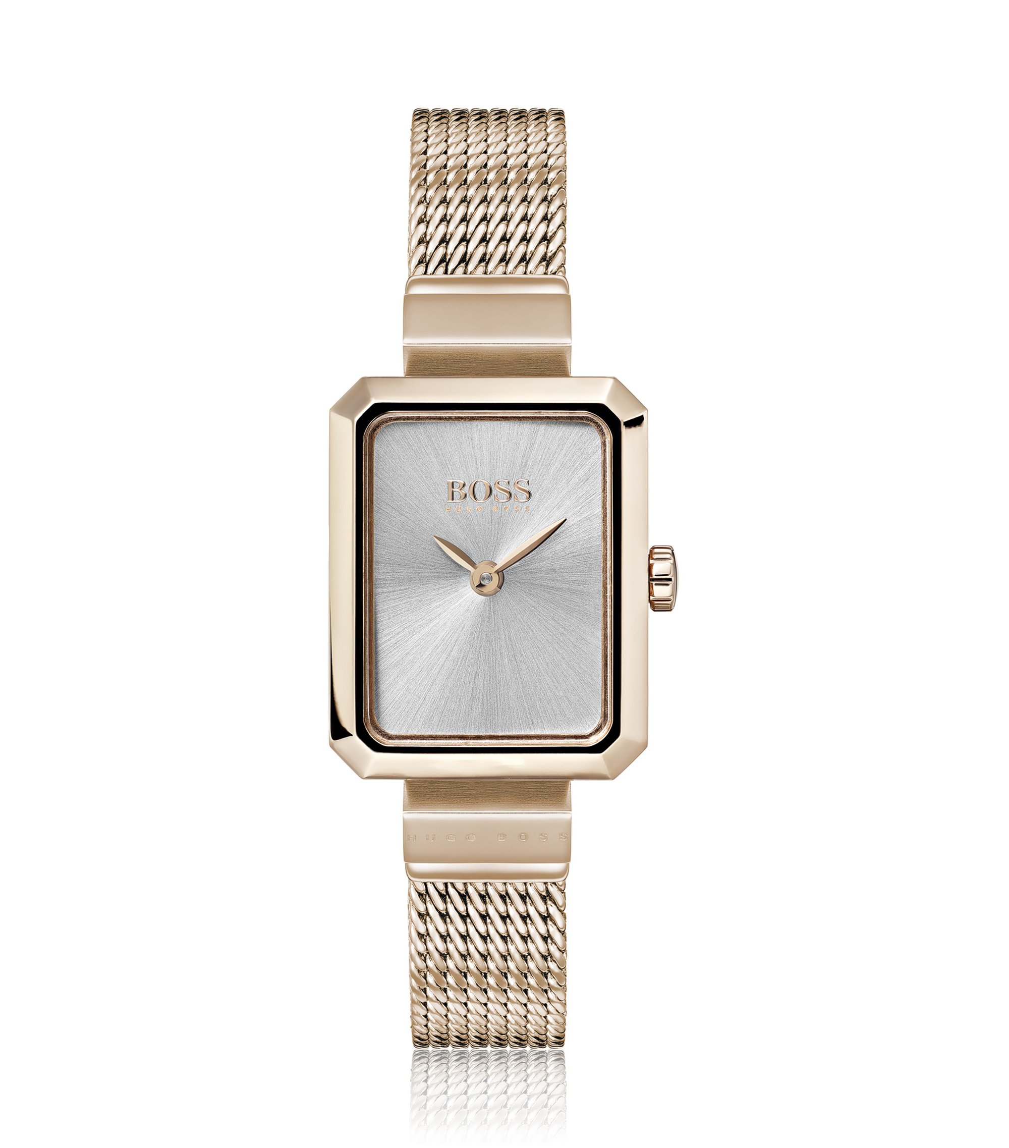 Carnation-gold-plated watch with rectangular face, Assorted-Pre-Pack