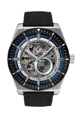 Multi-automatic skeleton watch with black-fabric strap, Assorted-Pre-Pack
