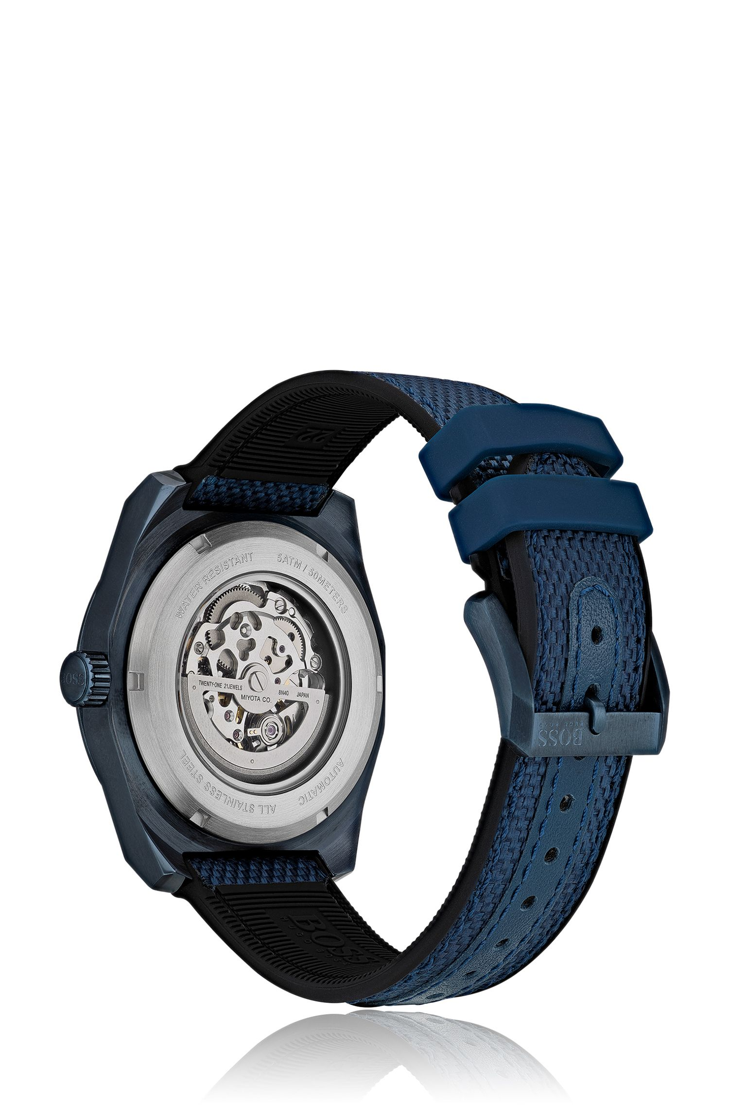 Skeleton watch with blue case and leather-lined fabric strap, Assorted-Pre-Pack