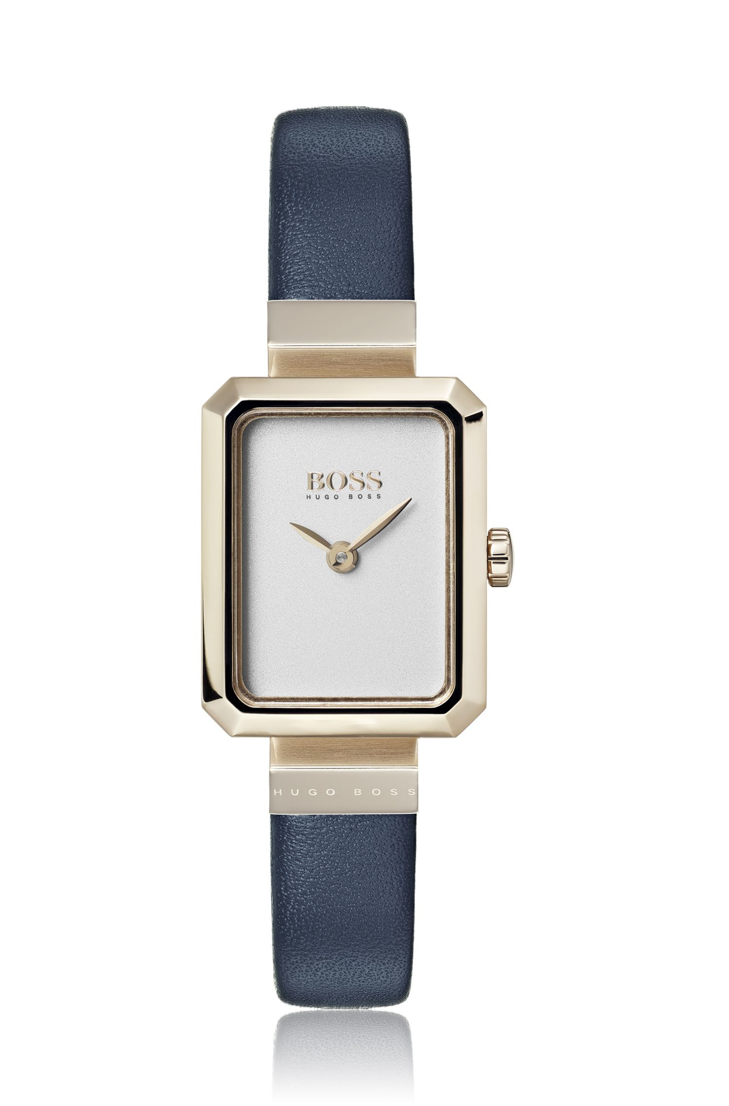 Rectangular-face watch with blue leather strap, Assorted-Pre-Pack