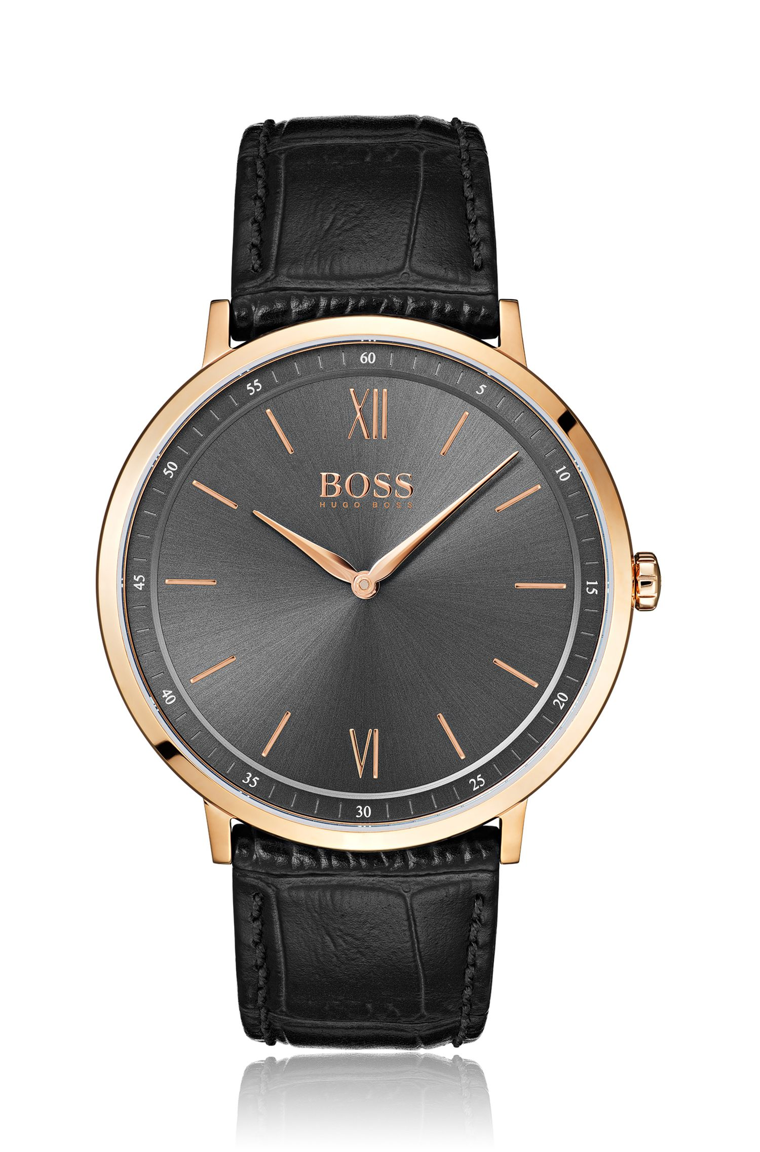 Rose-gold-plated watch with gray sunray-brushed dial, Assorted-Pre-Pack