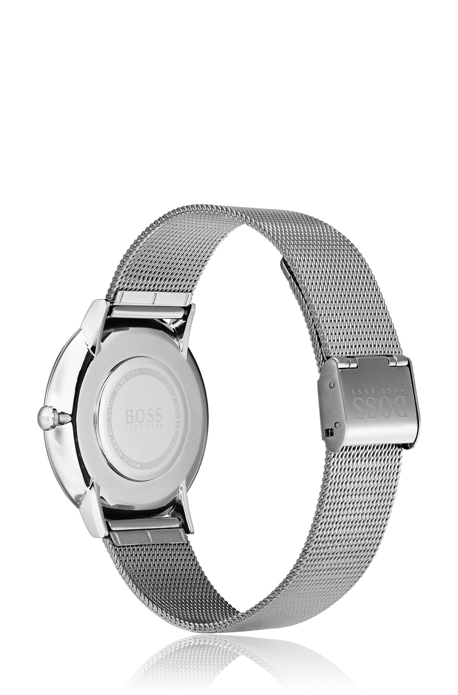 Polished stainless-steel watch with mesh bracelet, Assorted-Pre-Pack