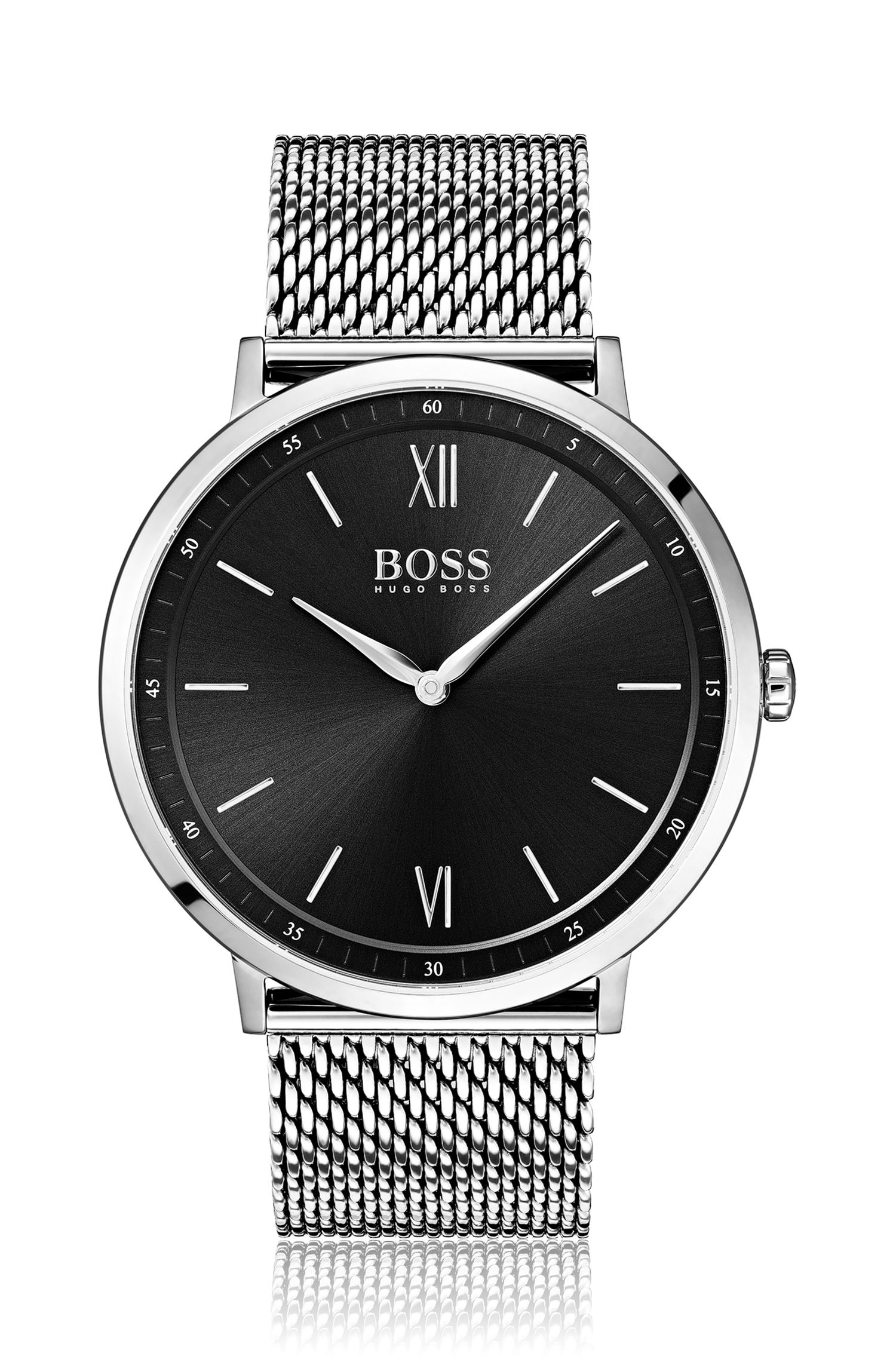 Stainless-steel watch with black dial and mesh bracelet, Assorted-Pre-Pack