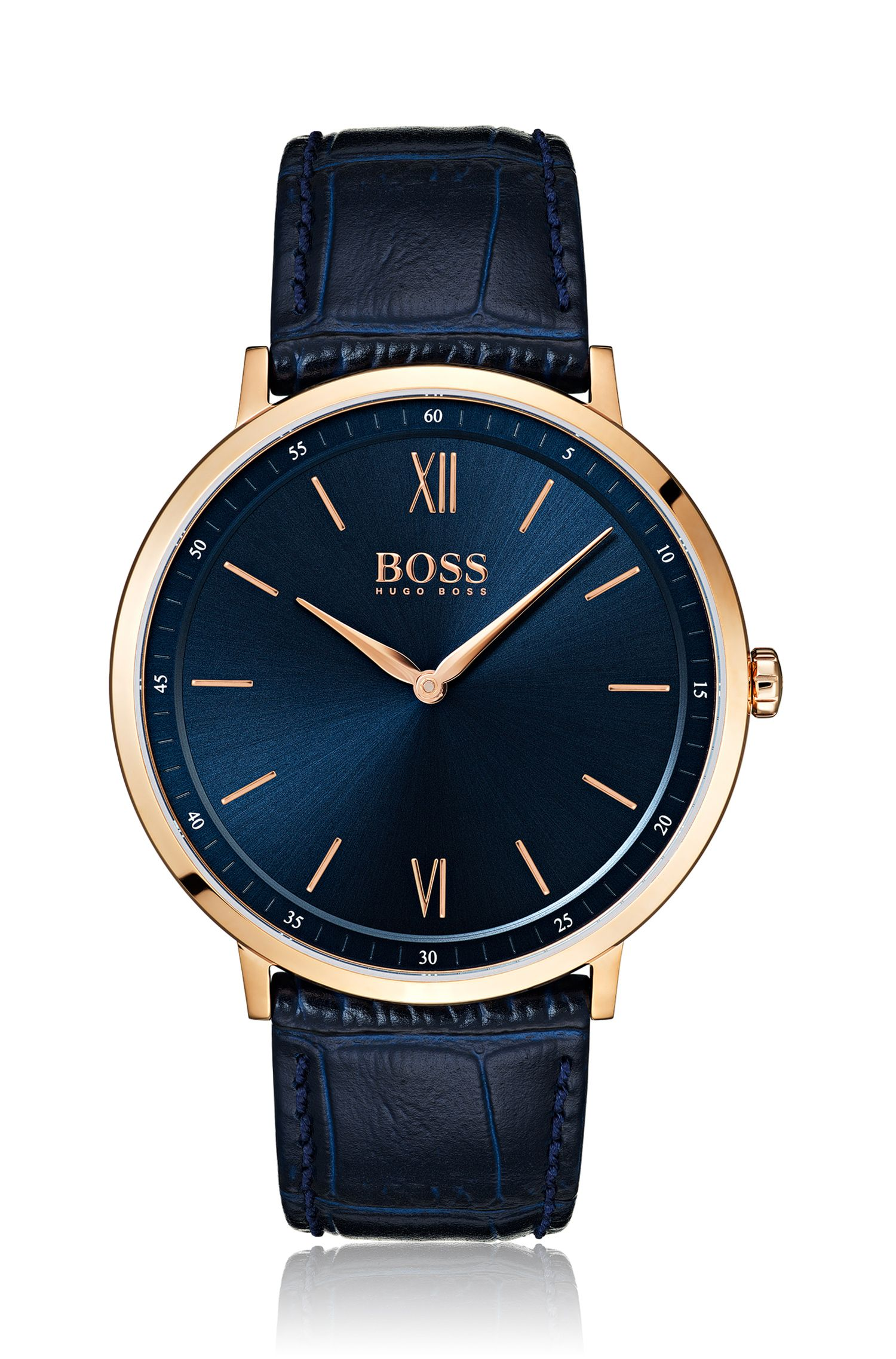 Rose-gold-plated watch with blue dial and leather strap, Assorted-Pre-Pack