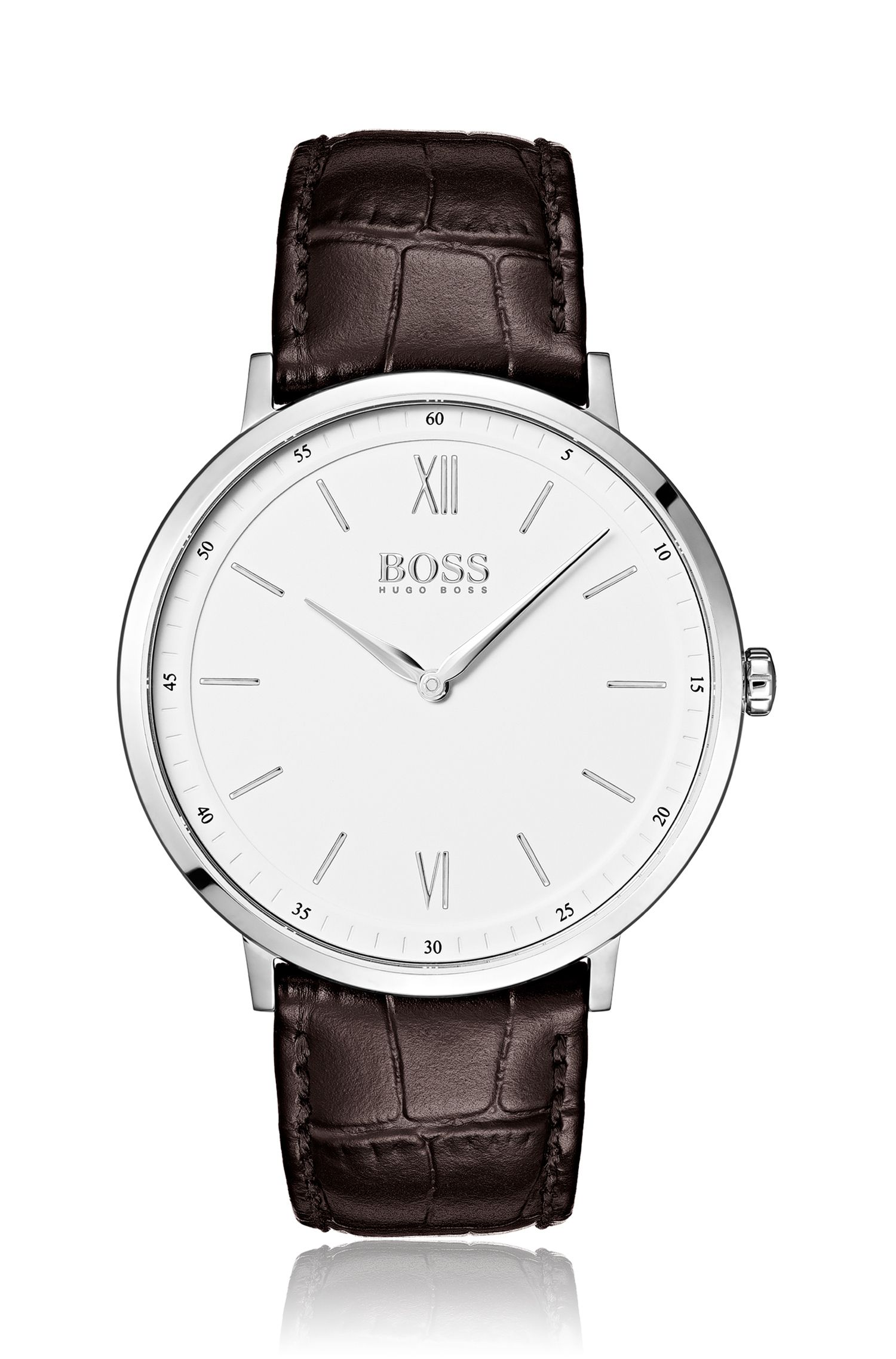 Stainless-steel white-dial watch with embossed leather strap, Assorted-Pre-Pack