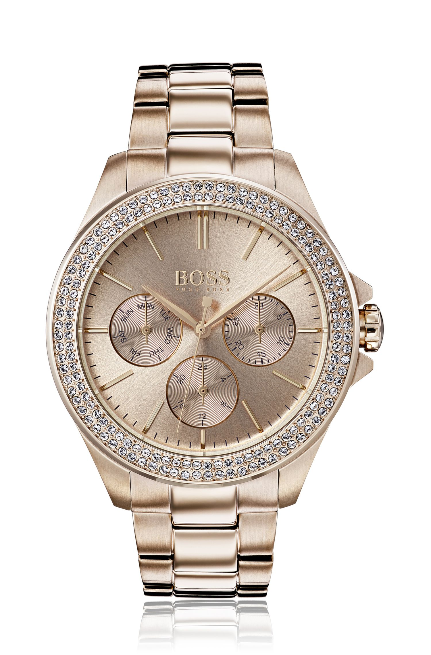 Carnation-gold-plated watch with crystal dial trim, Assorted-Pre-Pack