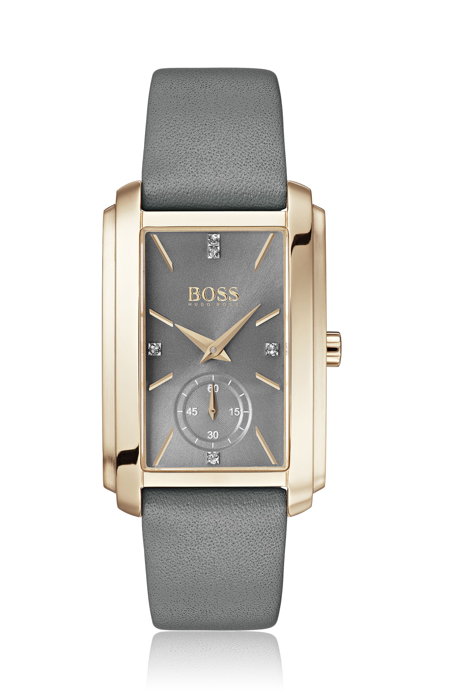 Carnation-gold-plated rectangular watch with gray leather strap, Assorted-Pre-Pack
