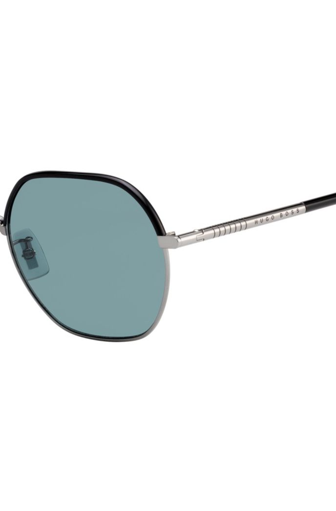 Colored-lens sunglasses in titanium and acetate