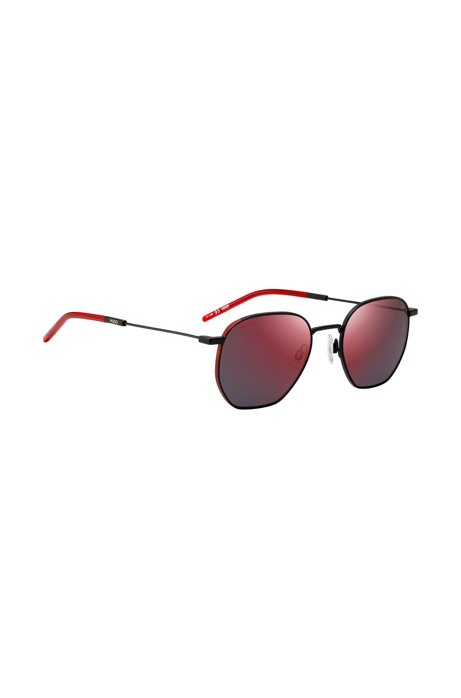 Mirrored sunglasses with red-shaded lenses, Assorted-Pre-Pack