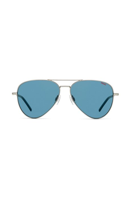 Aviator sunglasses with thin metal frames and blue lenses, Assorted-Pre-Pack