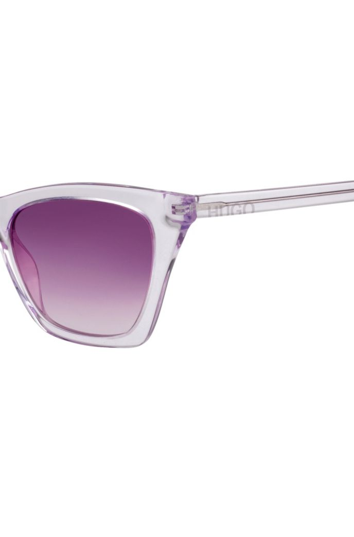 Sunglasses in transparent acetate with cropped logo